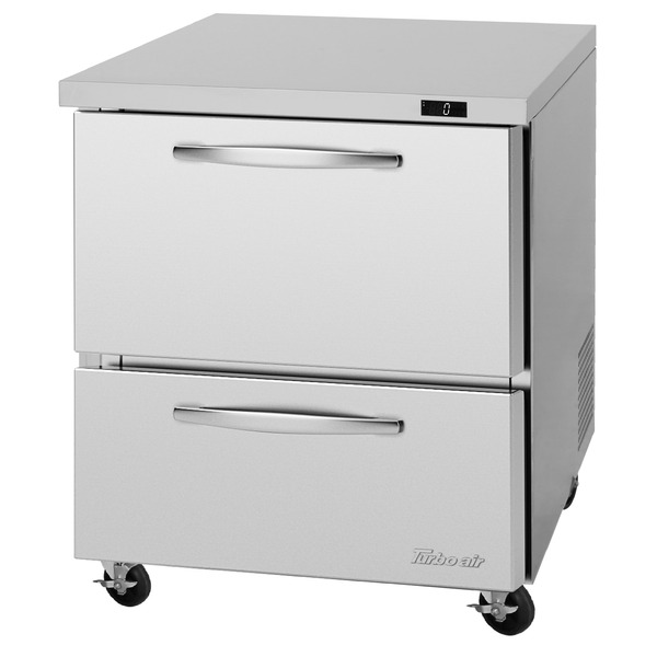Turbo Air PUF-28-D2-N 27.5'' 1 Section Undercounter Freezer with Solid 2 Drawers and Side / Rear Breathing Compressor