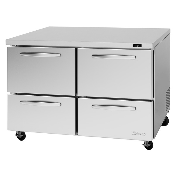Turbo Air PUF-48-D4-N 48.25'' 2 Section Undercounter Freezer with Solid 4 Drawers and Side / Rear Breathing Compressor