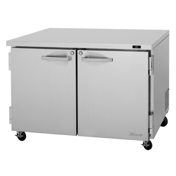 Turbo Air PUR-48-N 48.25'' 2 Section Undercounter Refrigerator with 2 Left/Right Hinged Solid Doors and Side / Rear Breathing Compressor