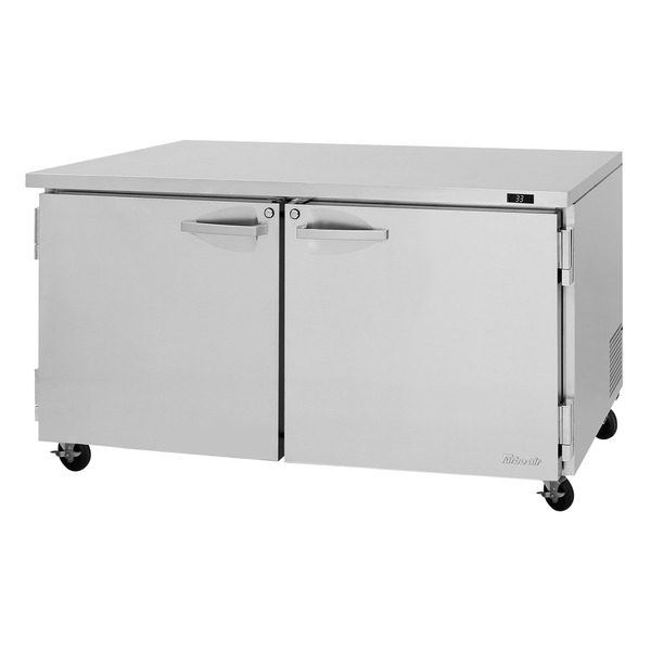 Turbo Air PUR-60-N 60.25'' 2 Section Undercounter Refrigerator with 2 Left/Right Hinged Solid Doors and Side / Rear Breathing Compressor