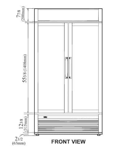 Turbo Air TGM-35SD-N 39.5'' White 2 Section Swing Refrigerated Glass Door Merchandiser