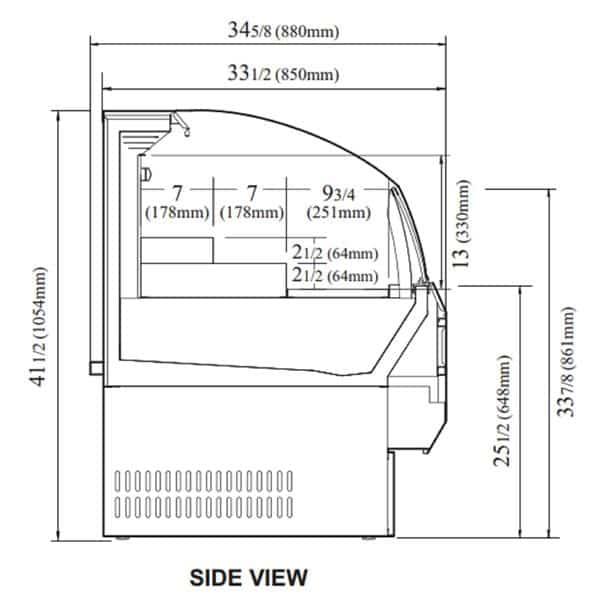 Turbo Air TOM-30SB-N 28'' Black Horizontal Air Curtain Open Display Merchandiser with 3 Shelves