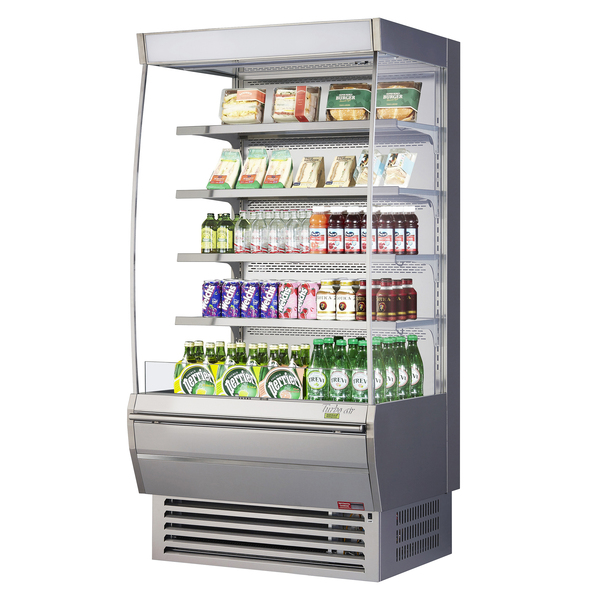 Turbo Air TOM-36DXS-N 36'' Stainless Steel Vertical Air Curtain Open Display Merchandiser with 4 Shelves