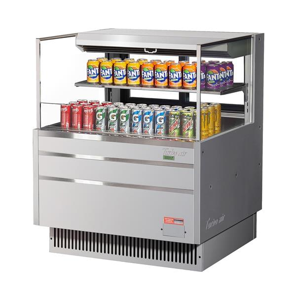 Turbo Air TOM-36L-UFD-S-2S-N 34.75'' Air Curtain Open Display Merchandiser with