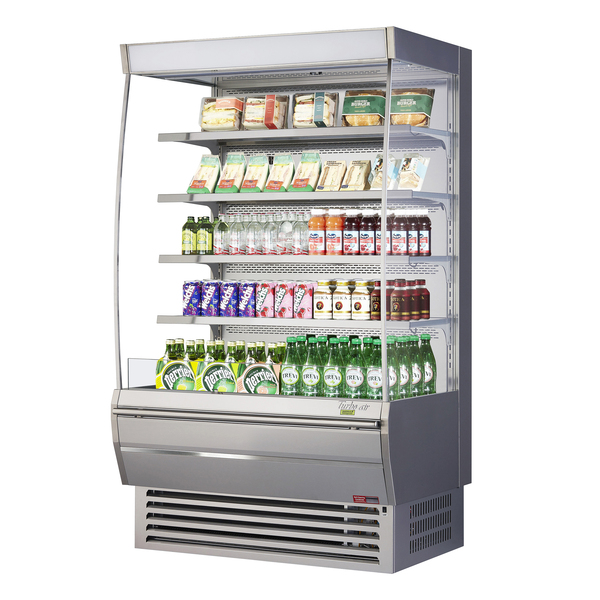 Turbo Air TOM-48DXS-N 48'' Stainless Steel Vertical Air Curtain Open Display Merchandiser with 4 Shelves