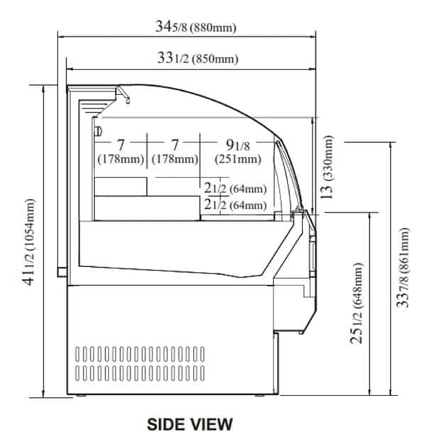 Turbo Air TOM-50SW-N 50.75'' White Horizontal Air Curtain Open Display Merchandiser with 3 Shelves