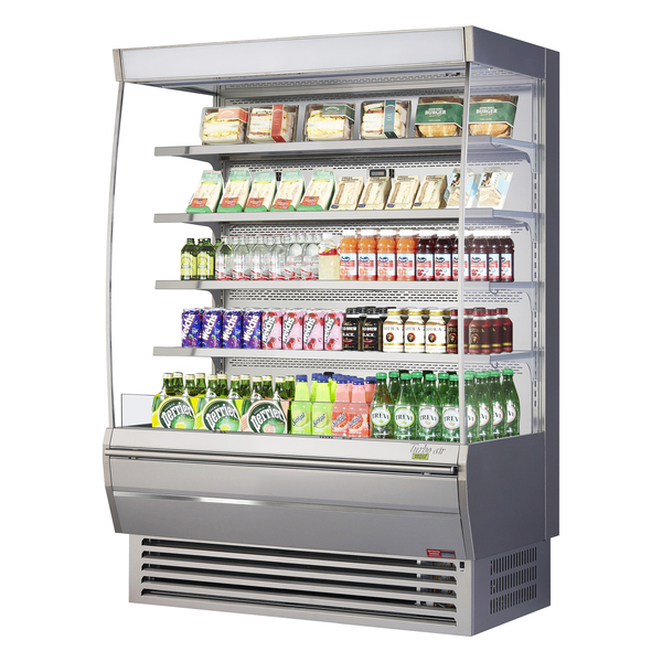 Turbo Air TOM-60DXS-N 60'' Stainless Steel Vertical Air Curtain Open Display Merchandiser with 4 Shelves