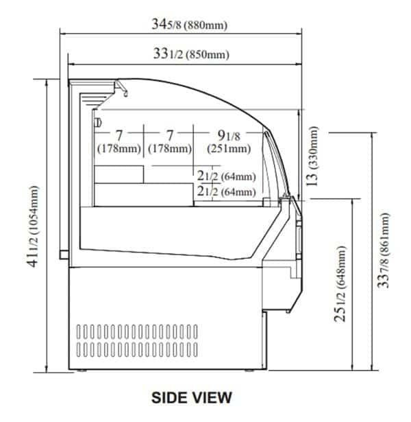 Turbo Air TOM-60SB-N 63.25'' Black Horizontal Air Curtain Open Display Merchandiser with 3 Shelves