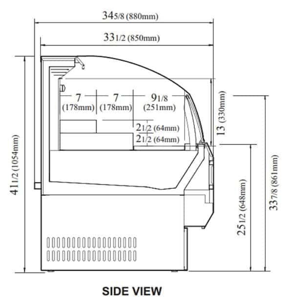 Turbo Air TOM-60SW-N 63.25'' White Horizontal Air Curtain Open Display Merchandiser with 3 Shelves