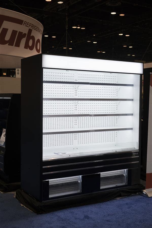 Turbo Air TOM-72EB-N 72'' Black Vertical Air Curtain Open Display Merchandiser with 8 Shelves