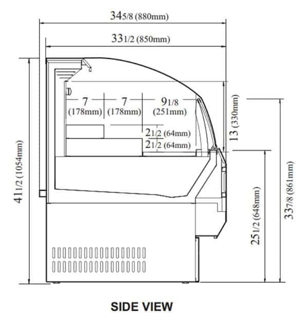 Turbo Air TOM-75SB-N 75.63'' Black Horizontal Air Curtain Open Display Merchandiser with 3 Shelves