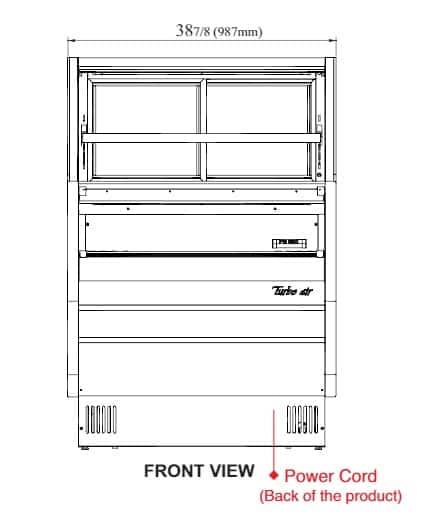 Turbo Air TOM-W-40SB-UF-N 38.88'' Black Vertical Air Curtain Open Display Merchandiser with 2 Shelves