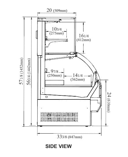 Turbo Air TOM-W-50SB-UF-N 50.88'' Black Vertical Air Curtain Open Display Merchandiser with 2 Shelves
