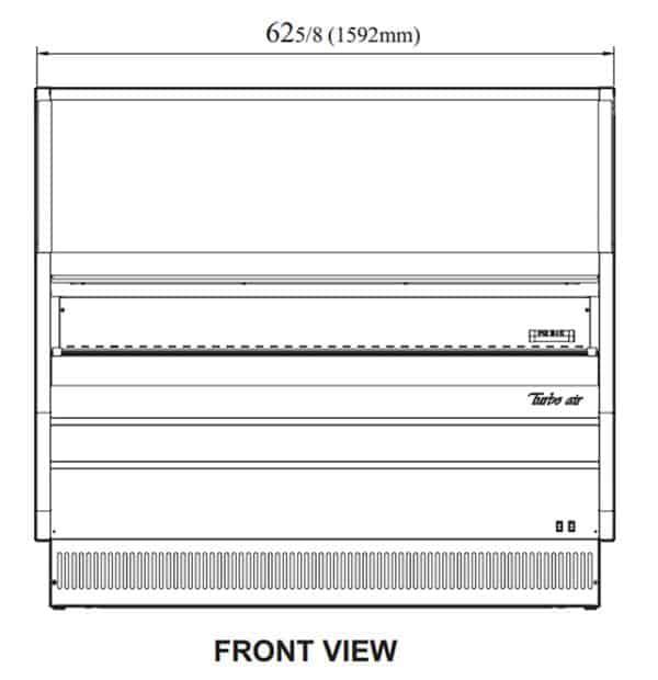 Turbo Air TOM-W-60SB-N 62.63'' Black Vertical Air Curtain Open Display Merchandiser with 2 Shelves