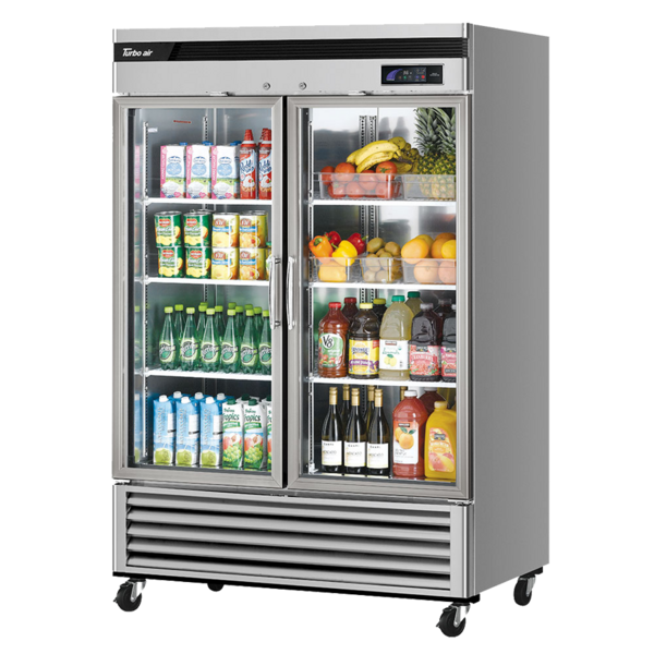 Turbo Air TSR-49GSD-N 54.38'' Silver 2 Section Swing Refrigerated Glass Door Merchandiser