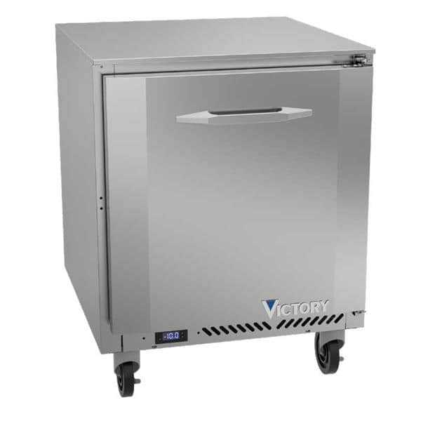 Victory Refrigeration VUF27HC 27'' 1 Section Undercounter Freezer with 1 Right Hinged Solid Door and Front Breathing Compressor