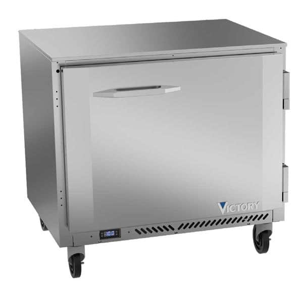 Victory Refrigeration VUF36HC 36'' 1 Section Undercounter Freezer with 1 Right Hinged Solid Door and Front Breathing Compressor