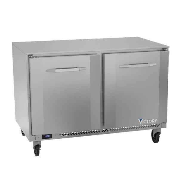 Victory Refrigeration VUF48HC 48'' 2 Section Undercounter Freezer with 2 Left/Right Hinged Solid Doors and Front Breathing Compressor