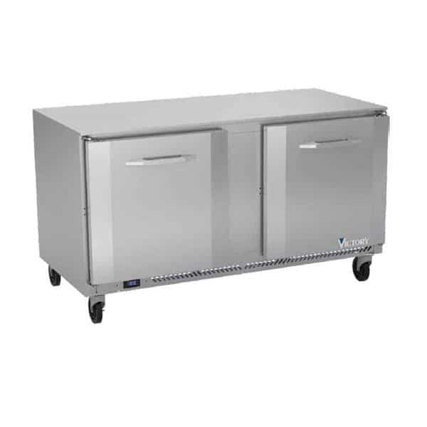 Victory Refrigeration VUF60HC 60'' 2 Section Undercounter Freezer with 2 Left/Right Hinged Solid Doors and Front Breathing Compressor