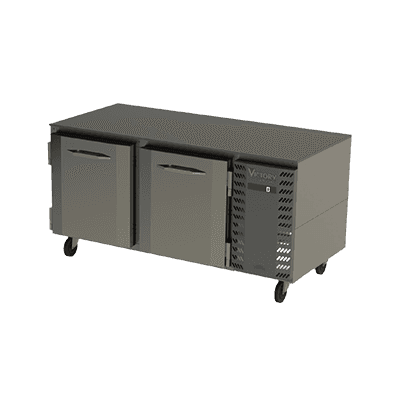 Victory Refrigeration VUF67HC 67.13'' 2 Section Undercounter Freezer with 2 Left/Right Hinged Solid Doors and Front Breathing Compressor