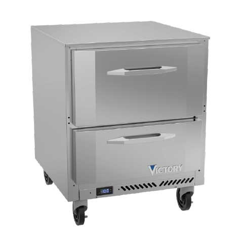 Victory Refrigeration VUFD27HC-2 27'' 1 Section Undercounter Freezer with Solid 2 Drawers and Front Breathing Compressor