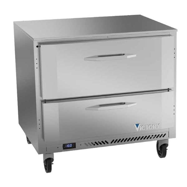 Victory Refrigeration VUFD36HC-2 36'' 1 Section Undercounter Freezer with Solid 2 Drawers and Front Breathing Compressor