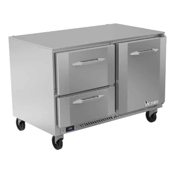 Victory Refrigeration VUFD48HC-2 48'' 2 Section Undercounter Freezer with 1 Right Hinged Solid Door 2 Drawers and Front Breathing Compressor