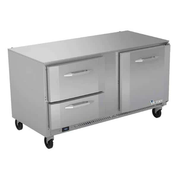 Victory Refrigeration VUFD60HC-2 60'' 2 Section Undercounter Freezer with 1 Right Hinged Solid Door 2 Drawers and Front Breathing Compressor