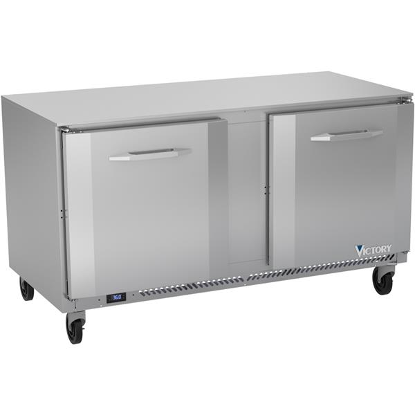 Victory Refrigeration VUR60HC 60.00'' 2 Section Undercounter Refrigerator with 2 Left/Right Hinged Solid Doors and Side / Rear Breathing Compressor