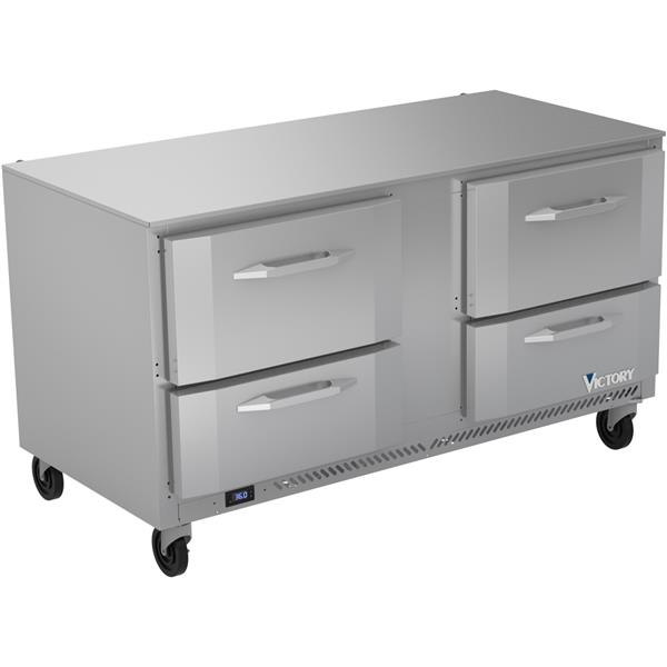 Victory Refrigeration VURD60HC-4 60.00'' 2 Section Undercounter Refrigerator with 4 Drawers and Side / Rear Breathing Compressor