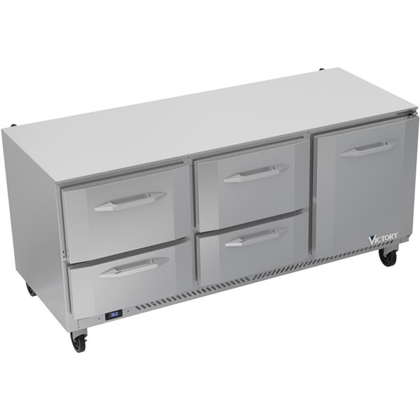 Victory Refrigeration VURD72HC-4 72.00'' 3 Section Undercounter Refrigerator with 1 Right Hinged Solid Door 4 Drawers and Side / Rear Breathing Compressor