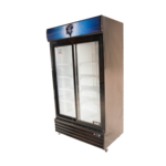 Bison Refrigeration BGM-35-SD 44.5'' Black 2 Section Sliding Refrigerated Glass Door Merchandiser