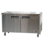 Bison Refrigeration BUF-60 60.25'' 2 Section Undercounter Freezer with 2 Left/Right Hinged Solid Doors and Side / Rear Breathing Compressor