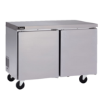 Delfield GUF48P-S 48'' 2 Section Undercounter Freezer with 2 Left/Right Hinged Solid Doors and Side / Rear Breathing Compressor