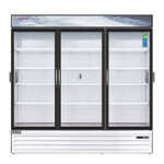 Everest Refrigeration EMSGR69C 72.88'' White 3 Section Swing Refrigerated Glass Door Merchandiser