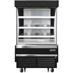 Everest Refrigeration EOMV-36-B-28-S 37.25'' Black Vertical Air Curtain Open Display Merchandiser with 3 Shelves