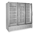 Global Refrigeration ULG80BC 78'' 76.2 cu. ft. 3 Section Silver Glass Door Merchandiser Freezer