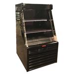 Howard-McCray SC-OD35E-33L-B-LED 33.75'' Black Vertical Air Curtain Open Display Merchandiser with 2 Shelves