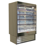 Howard-McCray SC-OD35E-48-S-LED 48'' Stainless Steel Vertical Air Curtain Open Display Merchandiser with 4 Shelves