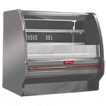 Howard-McCray SC-OD40E-4L-S-LED 51.00'' Stainless Steel Horizontal Air Curtain Open Display Merchandiser with 2 Shelves