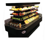 Howard-McCray SC-OD42I-7-S-LED 84.00'' Stainless Steel Island Air Curtain Open Display Merchandiser with 3 Shelves