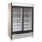 Maxx Cold MXM2-48RS 54.00'' White 2 Section Sliding Refrigerated Glass Door Merchandiser