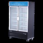 Spartan Refrigeration SGM-49RS 48'' Black 2 Section Swing Refrigerated Glass Door Merchandiser