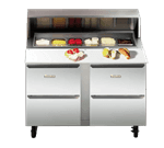 Traulsen UPT328-D Dealer's Choice Compact Prep Table Refrigerator with roll-top lid which serves as an overshelf