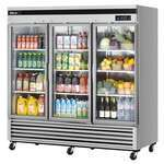 Turbo Air TSR-72GSD-N 81.88'' Silver 3 Section Swing Refrigerated Glass Door Merchandiser